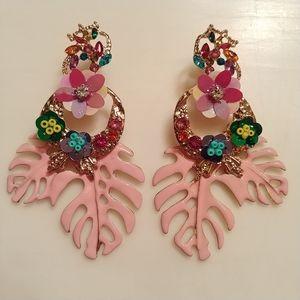 NEW Pink Monstera Leaves & Sequin Flowers Earrings